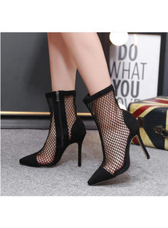 Hollow Out Side Zipped High Heel Boots