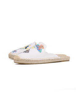 Butterfly Embroidered Flat Espadrille Slippers