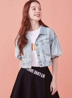 Lantern Sleeve Short Denim Jacket