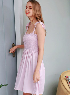 Bow Knot Strap Stripe Nightgowns