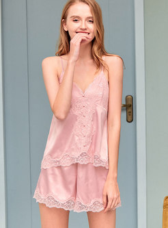 Lace V-neck Lingerie Shorts Pajama Set