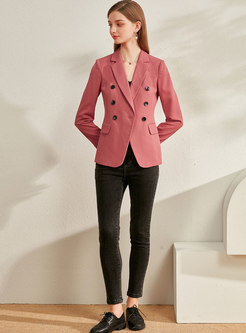 Notched Long Sleeve Office Slim Blazer