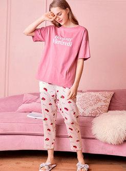 Short Sleeve Cheery Print Pajama Set