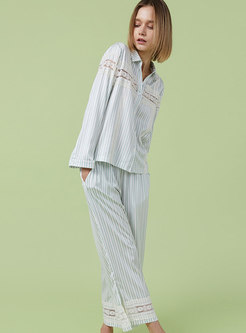 Patchwork Lace Stripe Long Pajama Set