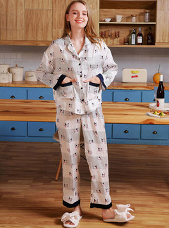 Color Block Cat Print Long Pajama Set