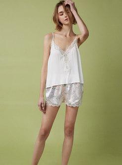 Spaghetti Strap Lace Satin Shorts Pajama Set