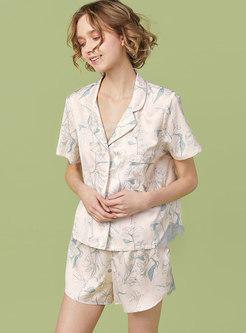 Satin Floral Button Down Shorts Pajama Set