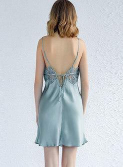 Spaghetti Strap Tie Back V-neck Nightgowns