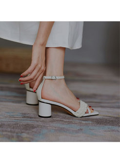 Square Toe Chunky Heel Buckle Sandals
