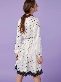 Polka Dot Tie Waist Long Sleeve Nightgowns