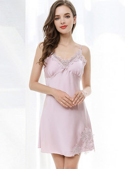 Lace Three Quarters Sleeve Nightgown Robe Set