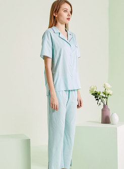 Casual Three Quarters Sleeve Capri Pant Pajama Set
