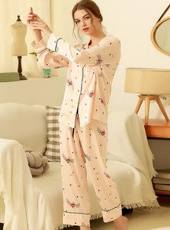 Cute Button Down Long Pajama Set
