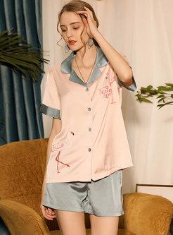 Color Block Flamingo Shorts Pajama Set