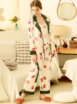 Strawberry Print Three Pieces Pajama Set