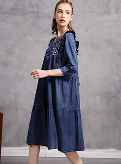 3/4 Sleeve Embroidered Denim Shift Dress