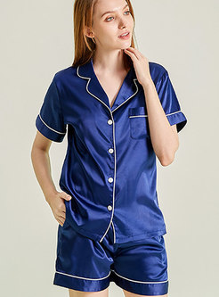 Satin Solid Color Button Down Shorts Pajama Set