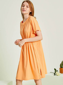 Solid Color Gather Waist Loose Nightgowns