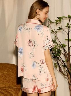 Floral Button Down Shorts Pajama Set