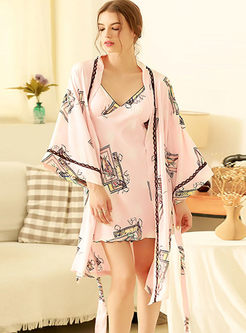 Ruffle Three Quarters Sleeve ightgown Robe Set
