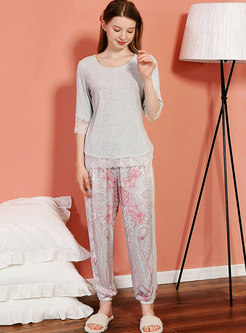 Lace Three Quarters Sleeve Ankle Bended Pajama Set