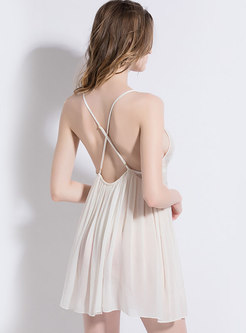 Sexy Spaghetti Strap Lace Cross Back Nightgowns