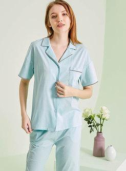 Solid Color Button Down Capri Pant Pajama Set