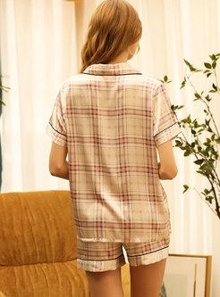Plaid Buttom Down Shorts Pajama Set