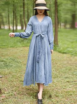 Solid Color V-neck Long Sleeve A Line Dress
