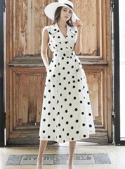 Notched Collar Polka Dot Work Midi Dress