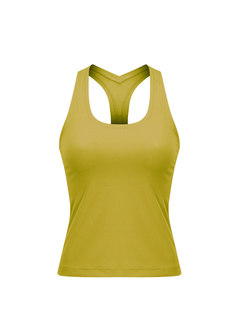 Yellow Sleeveless Tight Sports Top
