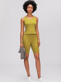 Yellow Sleeveless Tight Sports Top