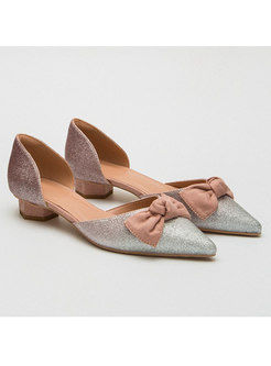 Pointed Toe Bowknot Chunky Heel Shoes