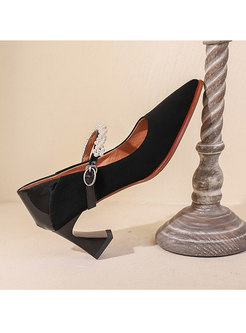 Pointed Toe Beaded Chunky Heel Pumps