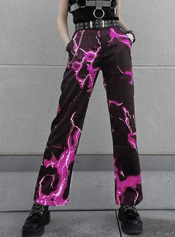 High Waisted Color-blocked Straight Pants