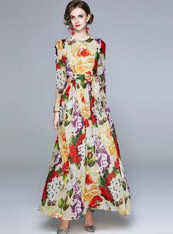 Boho Long Sleeve Print Chiffon Maxi Dress