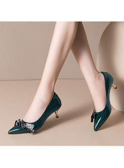 Color-blocked Bowknot Low-fronted Pumps