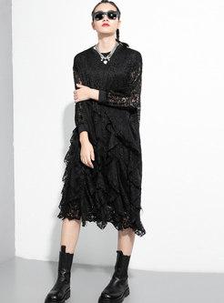 Lace Ruffle Loose T-shirt Dresses
