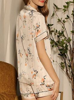 Notched Print Short Sleeve Pajama Set