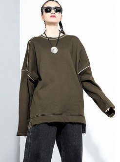 Crew Neck Pullover Loose Casual Sweatshirt