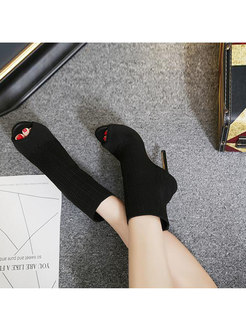 Peep Toe Openwork High Heel Short Boots