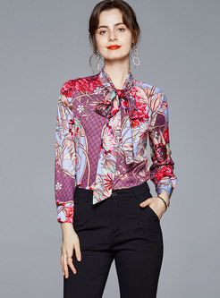 Bowknot Mock Neck Print Blouse