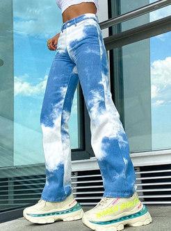 Color-blocked Denim Straight Long Pants