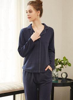 Solid Color Button Down Long Pajama Set
