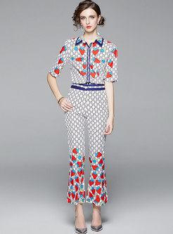 Print Short Sleeve Slim Flare Pant Suits