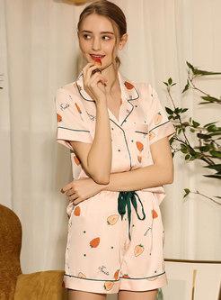 Color Block Strawberry Print Shorts Pajama Set