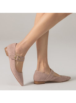 Pointed Toe Low-fronted Flock Shoes