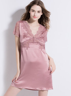 Patchwork Lace V-neck Nightgowns