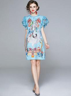 Bowknot Mock Neck Ruffle Sleeve Print Loose Dress