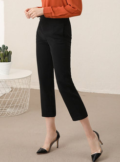 High Waisted Straight Capri Pants